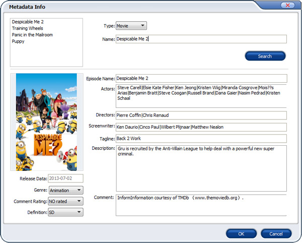 add metadata to DVD movies